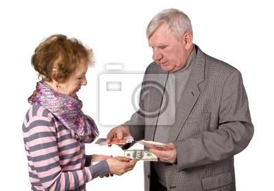 Ältere Menschen mit Geld in Händen