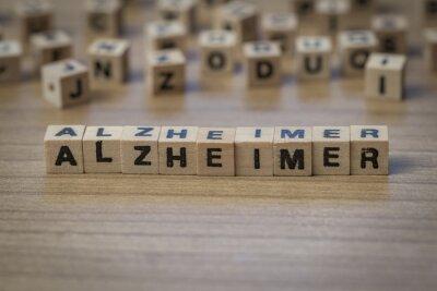 Alzheimer in Holzwürfel geschrieben