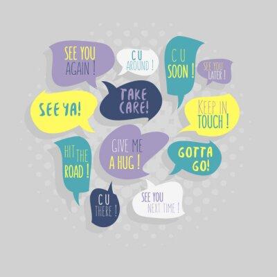 Am häufigsten verwendete Typische Good-Bye-Phrasen Auf Rede Flat Bubbles