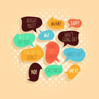 Am häufigsten verwendeten Typische Hallo Phrases On Speech Flat Bubbles