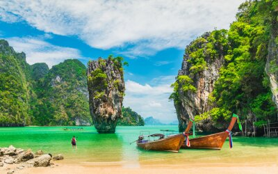 Fototapete Amazed nature scenic landscape James bond island with boat for traveler Phang-Nga bay, Attraction famous landmark tourist travel Phuket Thailand summer vacation trips, Tourism destinations place Asia