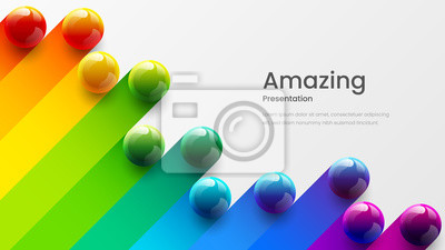 Fototapete Amazing abstract vector 3D colorful balls illustration template for poster, flyer, magazine, journal, brochure, book cover. Corporate web site landing page minimal background and banner design layout.