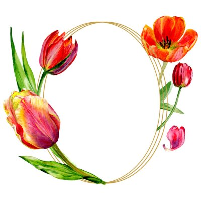 Fototapete Amazing red tulip flower with green leaf. Watercolor background illustration set. Frame border ornament round.