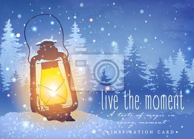 Amazing Vintage Laterne Auf Schnee Mit Magischen Lichter Am Winter