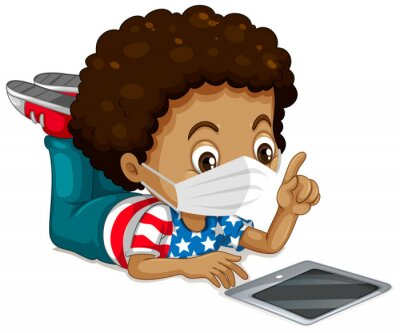 American boy wearing mask and tablet