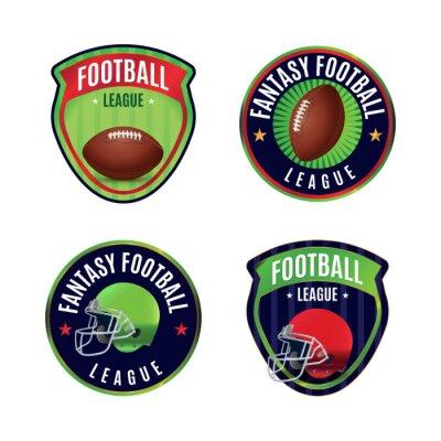 American Fantasy Football League Badges Illustration