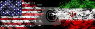 Fototapete American flag and Iranian flag in smoke shape on black background. Concept of world conflict and war. America VS Iran metaphor. Winds of war.