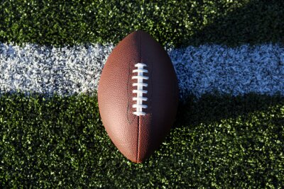 American Football auf Gras, close-up auf Yard-Linie