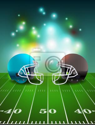 American Football Helme auf dem Feld