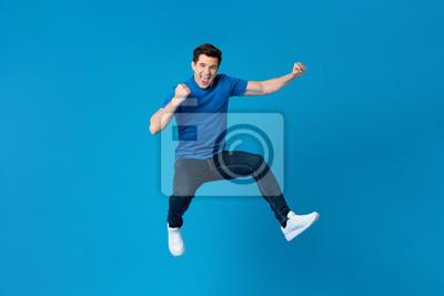 Fototapete American man jumping and enyoying his success