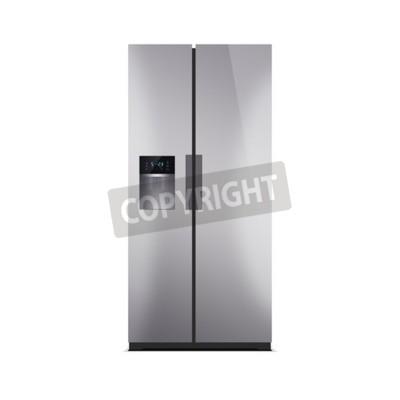 American style kühlschrank mit gefrierfach isoliert auf weiß ...
