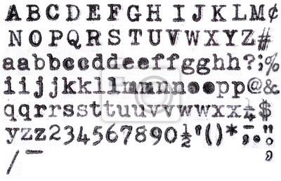 American Typewriter aplphabet auf weiß