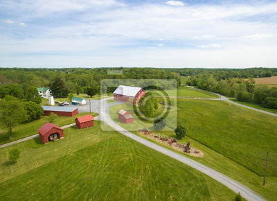 Fototapete Amerikanische Bauernhof Landschaft Mit Roter Scheune