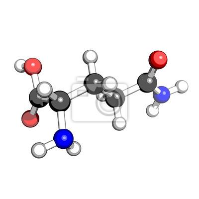 Aminosäure Glutamin Molekülstruktur auf einem weißen Hintergrund