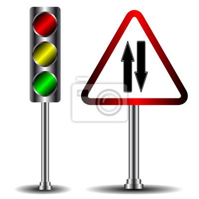 Ampel und Verkehrszeichen