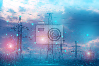 Fototapete an abstract representation of solving problems using artificial intelligence to increase reliability and reduce losses and accidents during the transmission of electrical energy