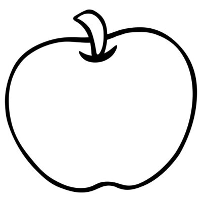An Apple. Fresh, juicy fruit. Vector illustration. Contour on an isolated white background. Doodle style. Sketch. Coloring book for children. Illustration idea for web design, book.