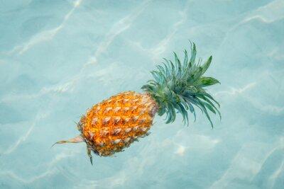 Fototapete Ananas in Wasser am sonnigen Strand