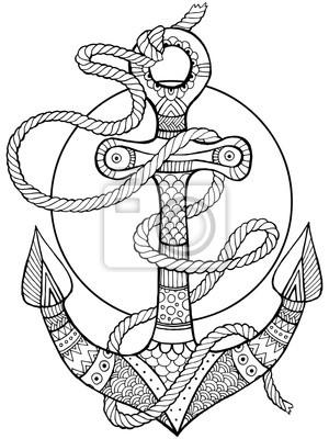 Anchor und Seil Färbung Buch Vektor-Illustration