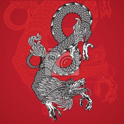 Ancient Chinese Dragon und roten Hintergrund Vektor-Bild