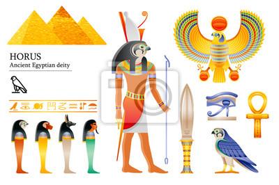 Ancient Egyptian god Horus icon set. Falcon deity, pyramid, dagger, bird, ankh, four sons of Horus, canopic jars, hieroglyph. 3d cartoon vector illustration. Old art craft. Isolated white background