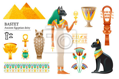 Ancient Egyptian goddess Bastet icon set. Cat deity, cup, flower, mummy, sistrum. God of cosmetics, love sex, joy, pregnancy. 3d cartoon vector illustration. Old art craft. Isolated white background