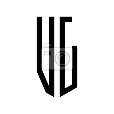 Fototapete Anfangsbuchstaben Logo Vl Schwarzes Monogramm Funfeck Schild