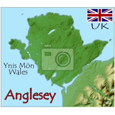 Karte Uk.Fototapete Anglesey Insel Uk Karte Flagge Emblem
