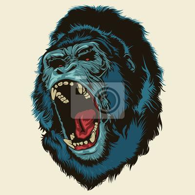 Fototapete Angry Gorilla Head