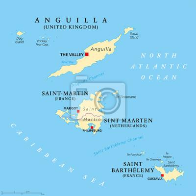 Kleine Antillen Karte.Fototapete Anguilla Saint Martin Sint Maarten Und Saint Barthelemy Politische
