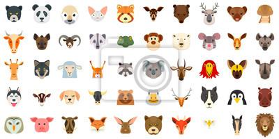 Fototapete Animals icon set. Flat set of animals vector icons for web design