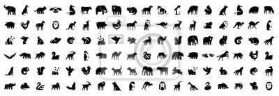 Fototapete Animals logos collection. Animal logo set. Isolated on White background