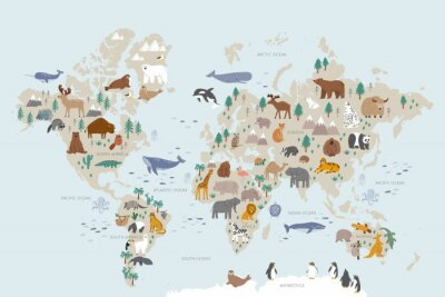 Fototapete Animals world map for kids. Poster with cute vector animals in flat style. Cartoon doodle characters in scandinavian style for children