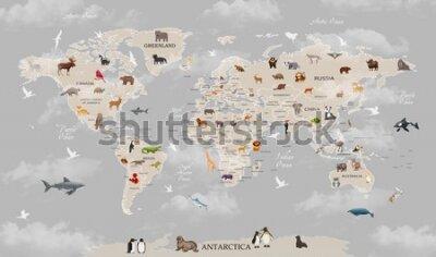 Fototapete Animals world map for kids wallpaper design