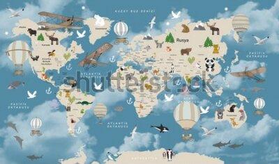 Fototapete Animals world map for kids wallpaper design Turkish articles