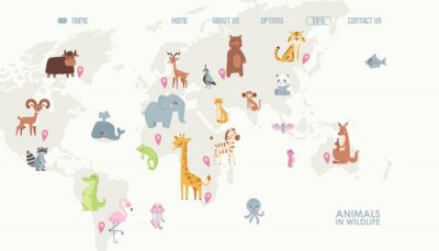 Fototapete Animals world map vector illustration. Landing page for children online educational platform. Cute cartoon animals in wildlife. Geography concept for kids. Fauna of different continents.