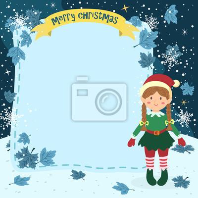 Anmerkungen christmas elf braid girl. illustration der weihnachts ...