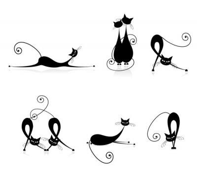 Anmutige Katzen Silhouetten für Ihr Design schwarz