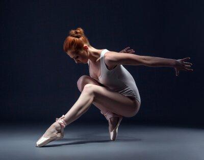 Fototapete Anmutige schlanke Ballerina tanzen in studio
