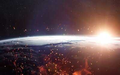 Fototapete Ansicht der Erde aus dem Weltraum. Elemente dieses Bildes von der NASA eingerichtet