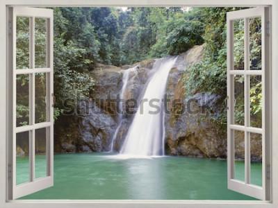 Fototapete Ansicht des offenen Fensters zum tropischen Wasserfall nahe der Stadt von Wasserfällen, Iligan, Mindanao, Philippinen