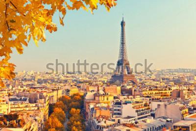 Fototapete Ansicht über Eiffelturm bei Sonnenuntergang, Paris, Frankreich