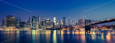 Fototapete Ansicht von Manhattan bis zum Nacht, NYC.