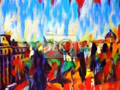 Ansicht von rom, italien. große größe moderne wand kunst ölgemälde ...