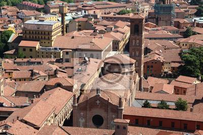 Ansicht zu san giacomo maggiore vom kontrollturm asinelli, italien ...