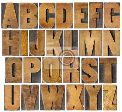 antike Alphabet in Holzart eingestellt
