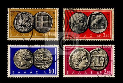 Antike Griechische Münzen Auf Briefmarken Fototapete Fototapeten