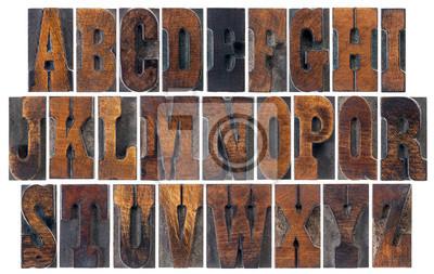 antike Holztyp Alphabet