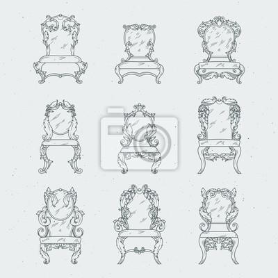 Antike italienische stühle und sessel. vektor möbel isoliert ...