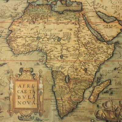 Fototapete Antike Karte von Afrika von niederländischen Kartograph Abraham Ortelius
